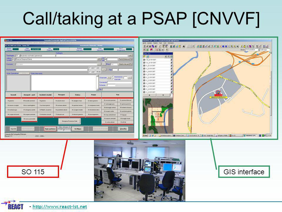 Call/taking at a PSAP [CNVVF] – http://www.react-ist.nethttp://www.react-ist.net SO 115 GIS interface