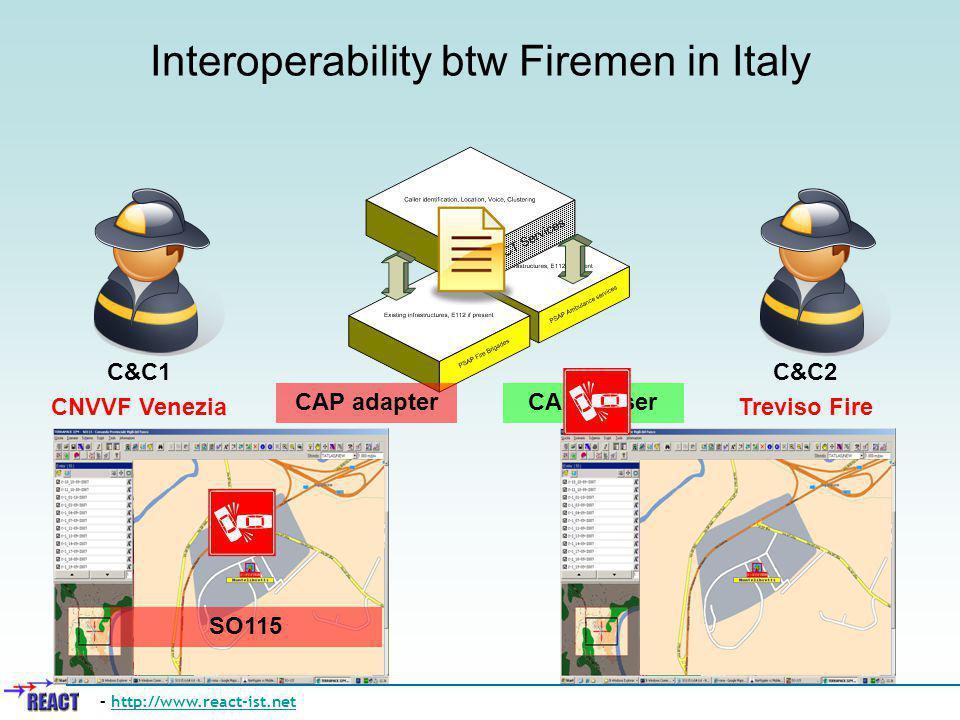 Interoperability btw Firemen in Italy – http://www.react-ist.nethttp://www.react-ist.net SO115 CAP adapterCAP parser C&C1 CNVVF Venezia C&C2 Treviso Fire