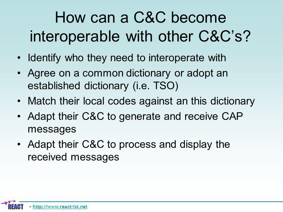 How can a C&C become interoperable with other C&Cs? Identify who they need to interoperate with Agree on a common dictionary or adopt an established d