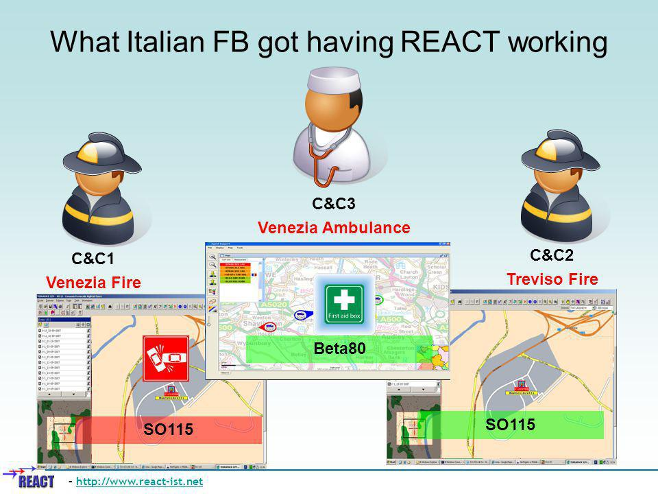What Italian FB got having REACT working – http://www.react-ist.nethttp://www.react-ist.net C&C2 Treviso Fire SO115 C&C1 Venezia Fire C&C3 Venezia Amb