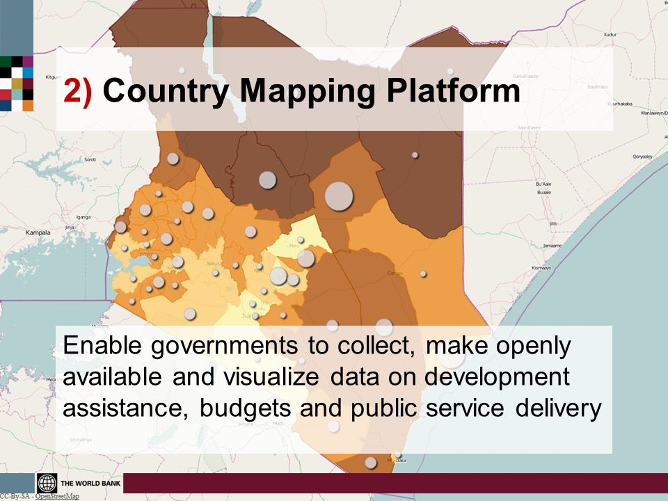 2) Country Mapping Platform Enable governments to collect, make openly available and visualize data on development assistance, budgets and public serv