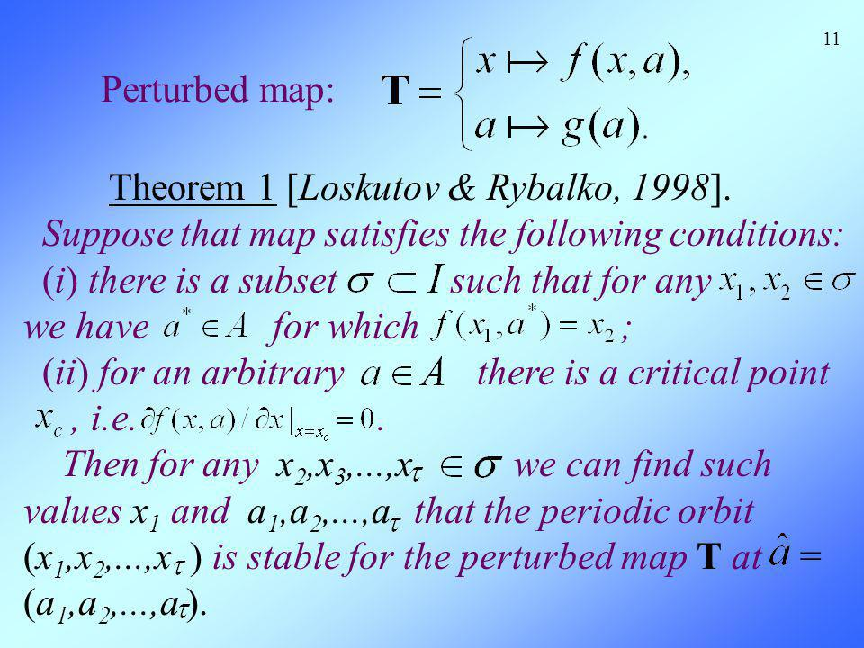 11 Perturbed map: Theorem 1 [Loskutov & Rybalko, 1998]. Suppose that map satisfies the following conditions: (i) there is a subset such that for any w