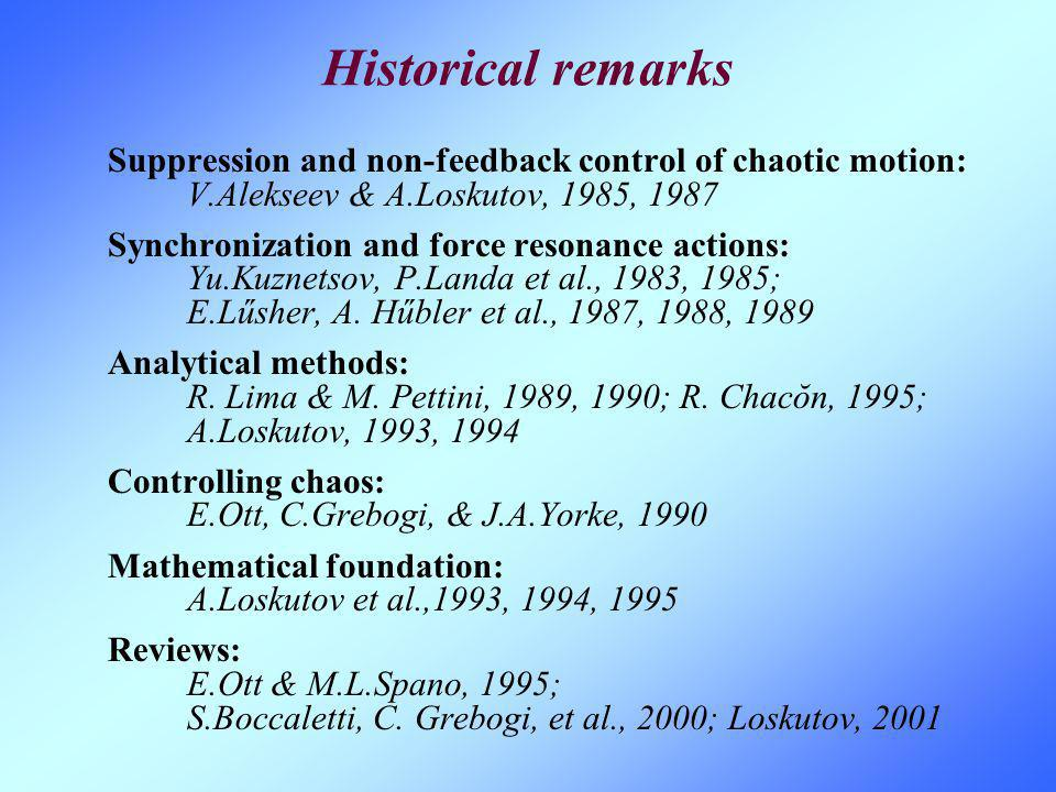 Historical remarks Suppression and non-feedback control of chaotic motion: V.Alekseev & A.Loskutov, 1985, 1987 Synchronization and force resonance act
