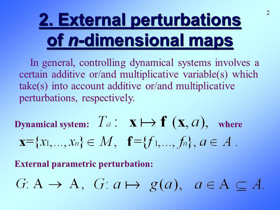 2. External perturbations of n-dimensional maps 2 In general, controlling dynamical systems involves a certain additive or/and multiplicative variable