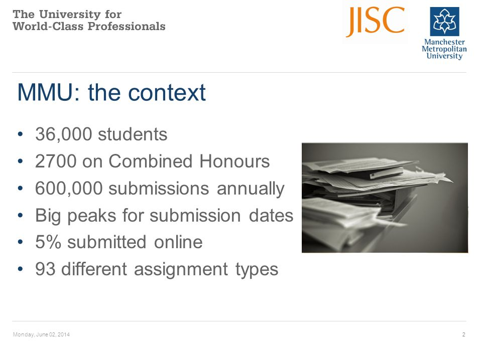 MMU: the context 36,000 students 2700 on Combined Honours 600,000 submissions annually Big peaks for submission dates 5% submitted online 93 different assignment types Monday, June 02, 20142