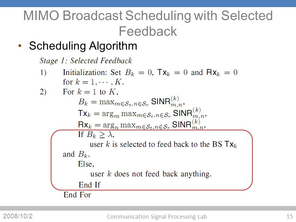 MIMO Broadcast Scheduling with Selected Feedback Scheduling Algorithm 2008/10/2 15 Communication Signal Processing Lab