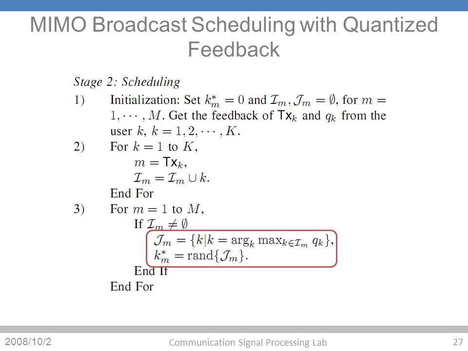 MIMO Broadcast Scheduling with Quantized Feedback 2008/10/2 27 Communication Signal Processing Lab