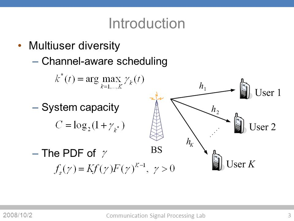 Introduction Multiuser diversity – Channel-aware scheduling – System capacity – The PDF of 2008/10/2 3 Communication Signal Processing Lab