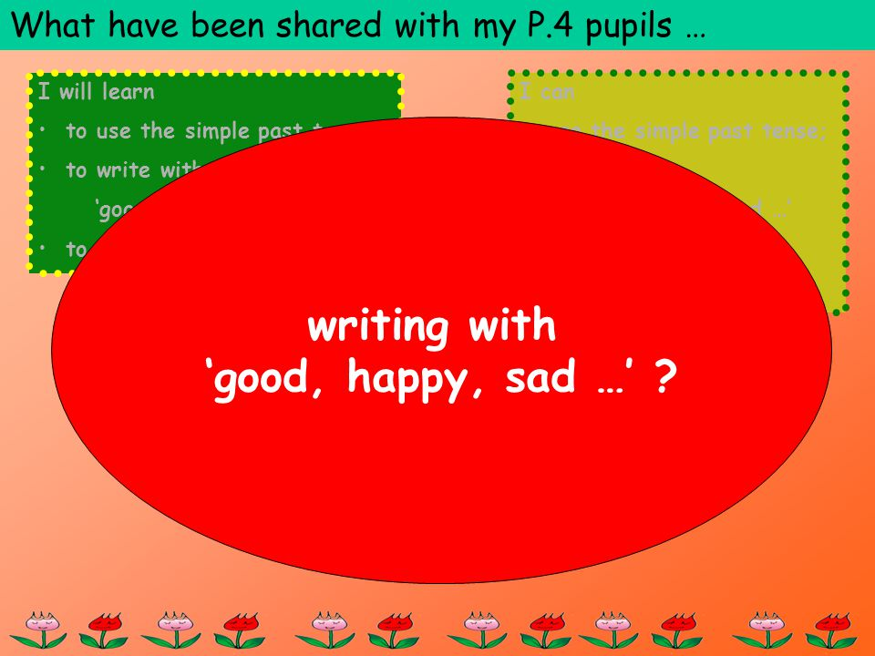 I will learn to use the simple past tense; to write with: good, happy, sad … to write a diary.