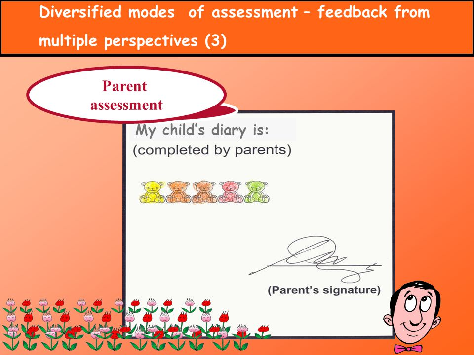 Diversified modes of assessment – feedback from multiple perspectives (3) My childs diary is: Parent assessment