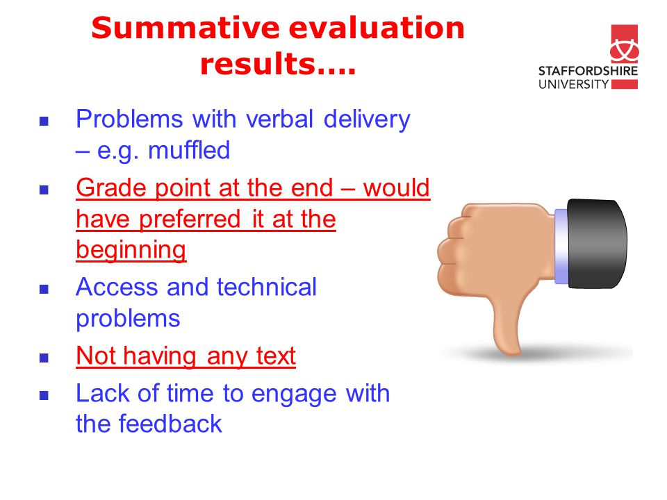 Summative evaluation results…. Problems with verbal delivery – e.g.
