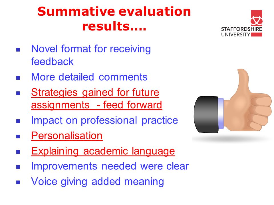 Summative evaluation results….