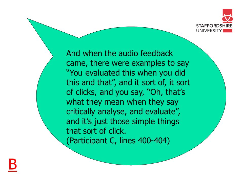 And when the audio feedback came, there were examples to say You evaluated this when you did this and that, and it sort of, it sort of clicks, and you say, Oh, thats what they mean when they say critically analyse, and evaluate, and its just those simple things that sort of click.