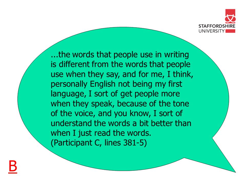 ...the words that people use in writing is different from the words that people use when they say, and for me, I think, personally English not being my first language, I sort of get people more when they speak, because of the tone of the voice, and you know, I sort of understand the words a bit better than when I just read the words.