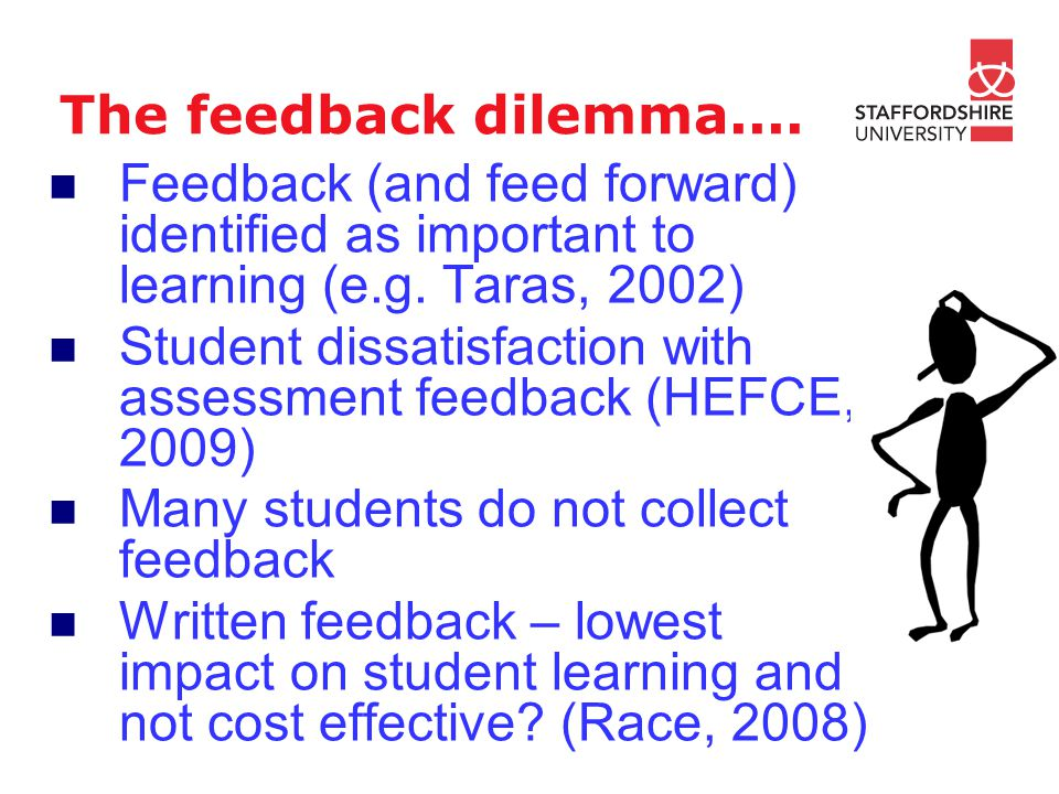The feedback dilemma.... Feedback (and feed forward) identified as important to learning (e.g.