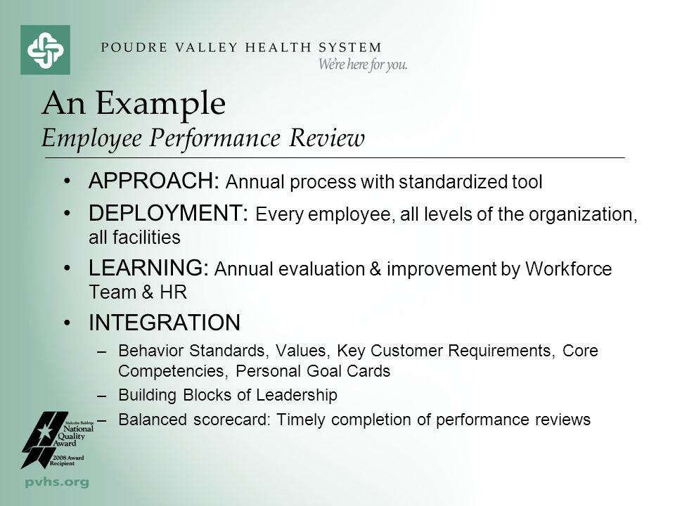 APPROACH: Annual process with standardized tool DEPLOYMENT: Every employee, all levels of the organization, all facilities LEARNING: Annual evaluation & improvement by Workforce Team & HR INTEGRATION –Behavior Standards, Values, Key Customer Requirements, Core Competencies, Personal Goal Cards –Building Blocks of Leadership –Balanced scorecard: Timely completion of performance reviews An Example Employee Performance Review