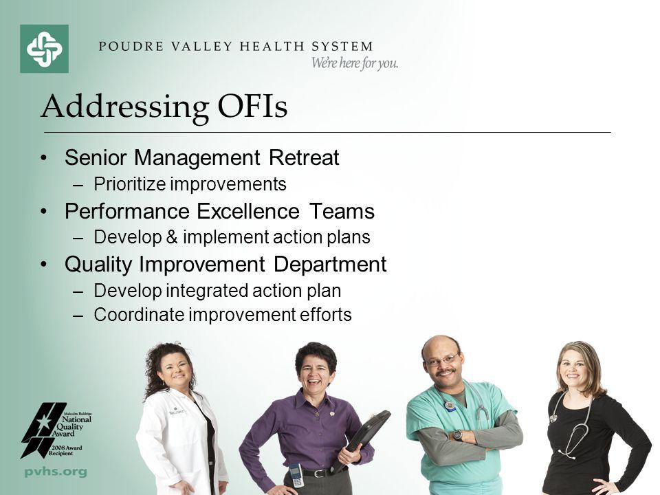 Senior Management Retreat –Prioritize improvements Performance Excellence Teams –Develop & implement action plans Quality Improvement Department –Deve