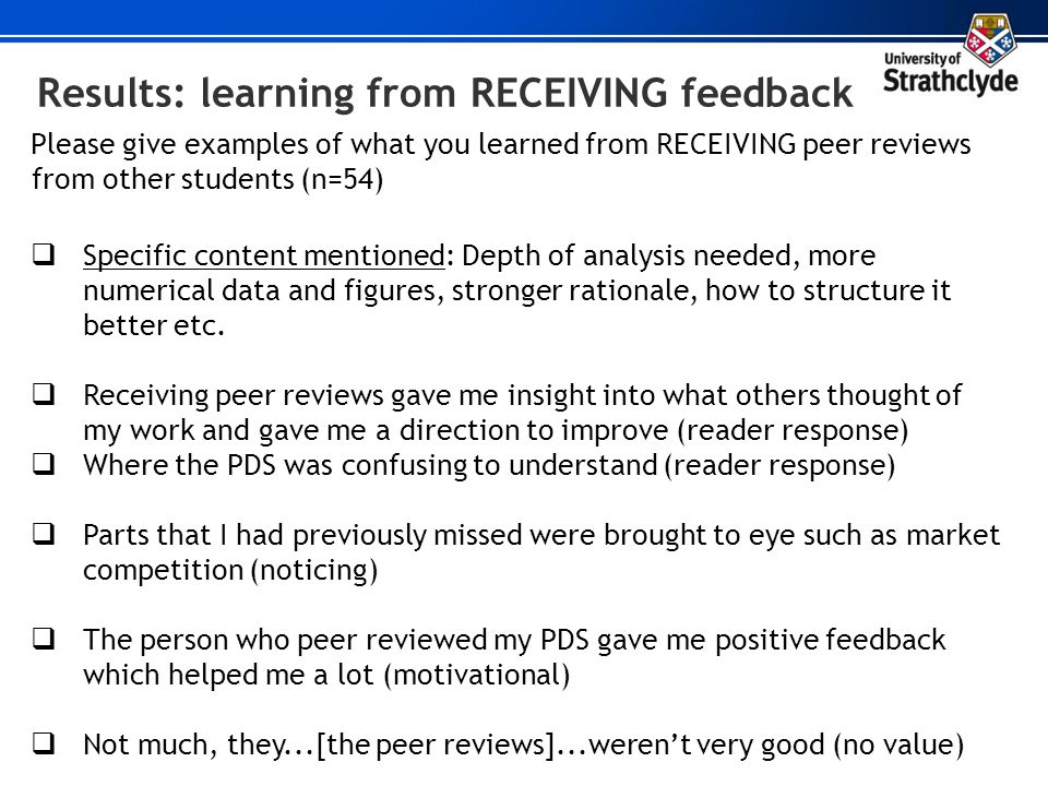 Results: learning from RECEIVING feedback Please give examples of what you learned from RECEIVING peer reviews from other students (n=54) Specific con
