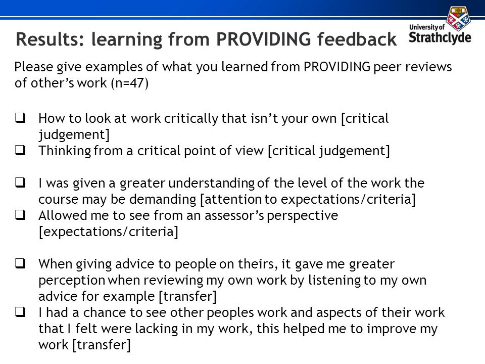 Results: learning from PROVIDING feedback Please give examples of what you learned from PROVIDING peer reviews of others work (n=47) How to look at wo