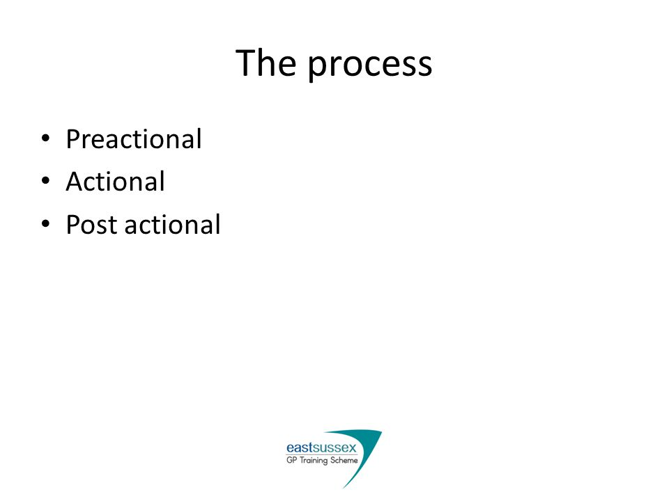 The process Preactional Actional Post actional