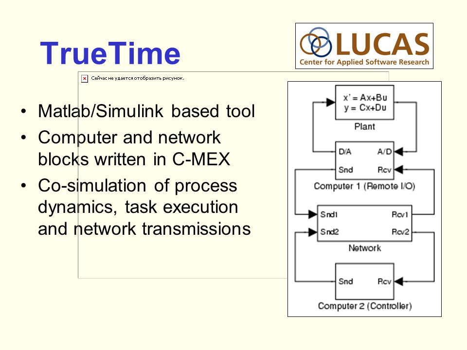 TrueTime Matlab/Simulink based tool Computer and network blocks written in C-MEX Co-simulation of process dynamics, task execution and network transmissions