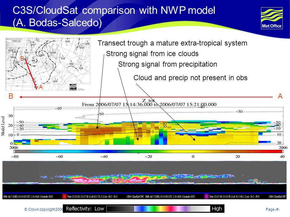 © Crown copyright 2006Page 18 C3S/CloudSat comparison with NWP model (A. Bodas-Salcedo) B A AB Transect trough a mature extra-tropical system Strong s