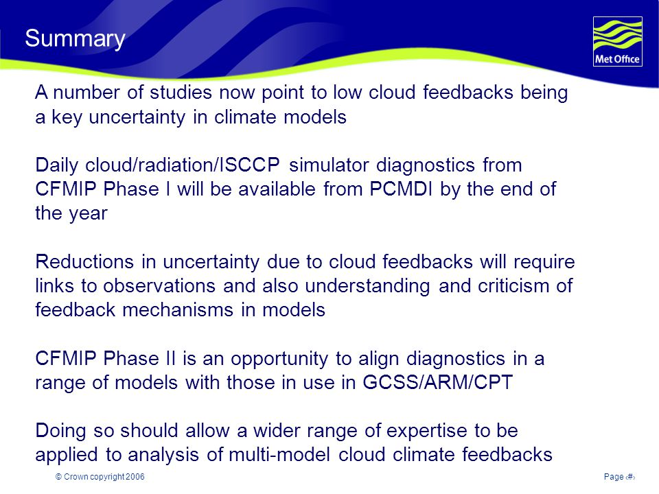 © Crown copyright 2006Page 23 Summary A number of studies now point to low cloud feedbacks being a key uncertainty in climate models Daily cloud/radiation/ISCCP simulator diagnostics from CFMIP Phase I will be available from PCMDI by the end of the year Reductions in uncertainty due to cloud feedbacks will require links to observations and also understanding and criticism of feedback mechanisms in models CFMIP Phase II is an opportunity to align diagnostics in a range of models with those in use in GCSS/ARM/CPT Doing so should allow a wider range of expertise to be applied to analysis of multi-model cloud climate feedbacks