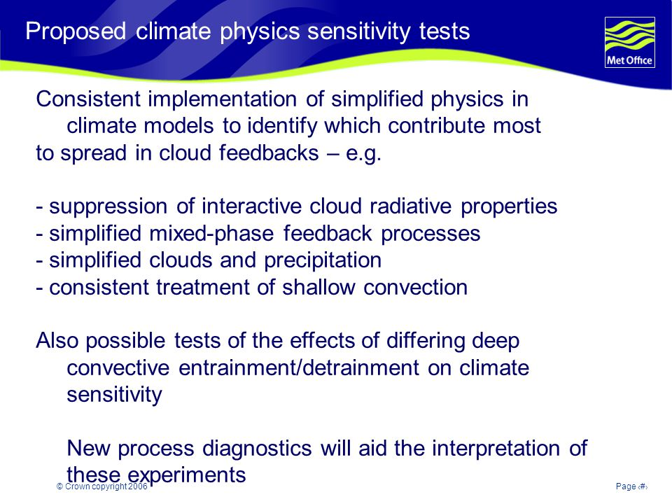 © Crown copyright 2006Page 26 Modelling and Prediction of Climate variability and change Proposed climate physics sensitivity tests Consistent impleme