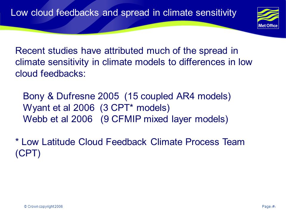 © Crown copyright 2006Page 4 Modelling and Prediction of Climate variability and change Low cloud feedbacks and spread in climate sensitivity Recent s