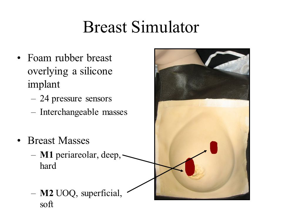 Breast Simulator Foam rubber breast overlying a silicone implant –24 pressure sensors –Interchangeable masses Breast Masses –M1 periareolar, deep, hard –M2 UOQ, superficial, soft