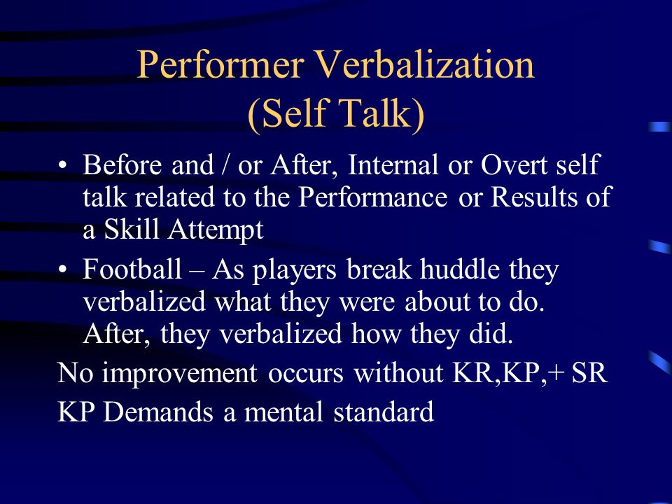 Feedback ALL Afferent Information sent back to the Central Nervous System after a response was emitted 3 TYPES: KR – Knowledge of Results (Bulls eye!