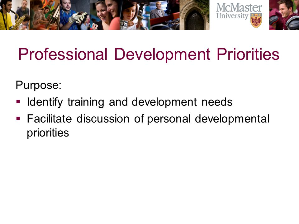 Professional Development Priorities Purpose: Identify training and development needs Facilitate discussion of personal developmental priorities