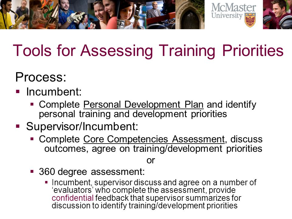 Tools for Assessing Training Priorities Process: Incumbent: Complete Personal Development Plan and identify personal training and development prioriti