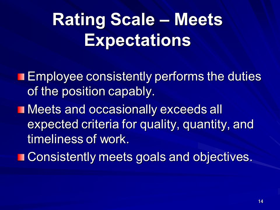 14 Rating Scale – Meets Expectations Employee consistently performs the duties of the position capably.