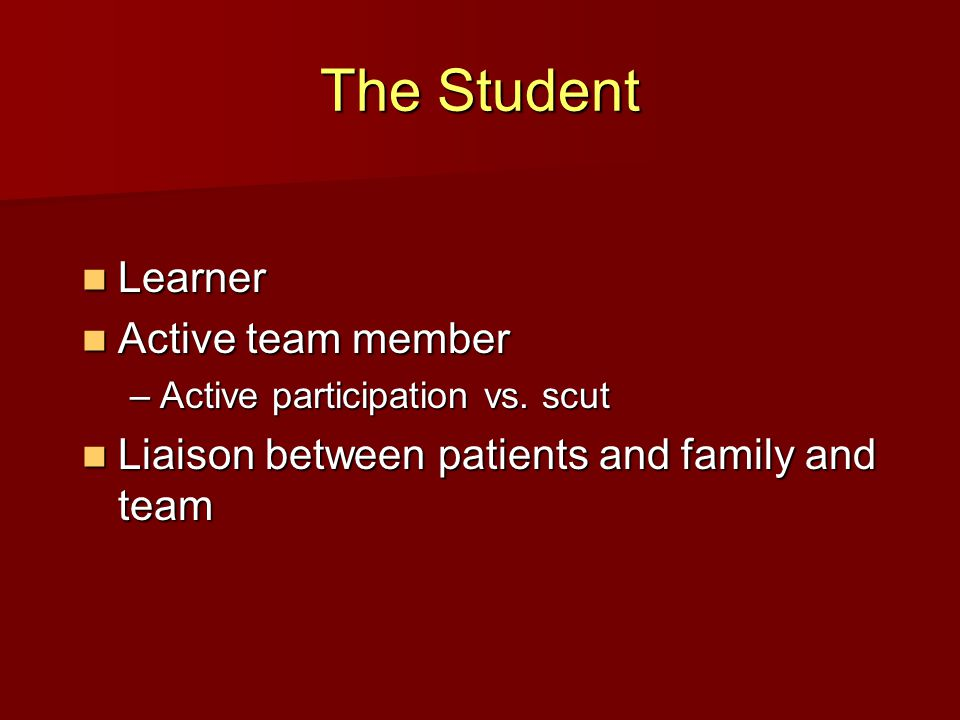 The Student Learner Learner Active team member Active team member –Active participation vs.