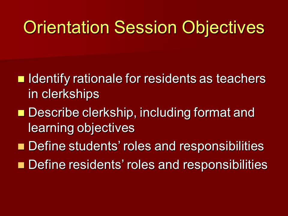 Rationale for Residents as Teachers Teaching is our professional responsibility Teaching is our professional responsibility –Professionalism Teaching can aid our own learning Teaching can aid our own learning –Practice-based learning Residents have most contact with students Residents have most contact with students –Increased opportunity to observe the students and to be observed by the students