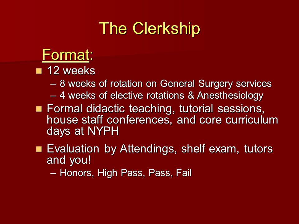 The Clerkship Requirements: Patient log Patient log Direct observations Direct observations Clinical evaluation Clinical evaluation
