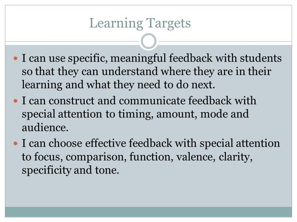 See Evaluating Feedback Handout