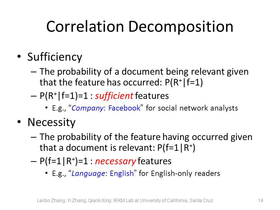 Correlation Decomposition Sufficiency – The probability of a document being relevant given that the feature has occurred: P(R + |f=1) – P(R + |f=1)=1 : sufficient features E.g., Company: Facebook for social network analysts Necessity – The probability of the feature having occurred given that a document is relevant: P(f=1|R + ) – P(f=1|R + )=1 : necessary features E.g., Language: English for English-only readers 14 Lanbo Zhang, Yi Zhang, Qianli Xing.