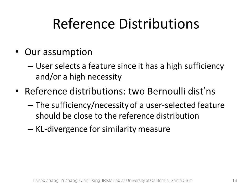 Reference Distributions Our assumption – User selects a feature since it has a high sufficiency and/or a high necessity Reference distributions: two Bernoulli distns – The sufficiency/necessity of a user-selected feature should be close to the reference distribution – KL-divergence for similarity measure 18 Lanbo Zhang, Yi Zhang, Qianli Xing.