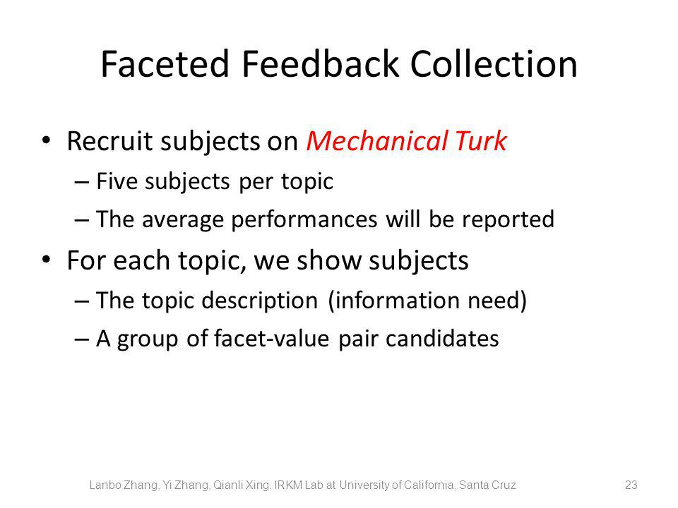 Faceted Feedback Collection Recruit subjects on Mechanical Turk – Five subjects per topic – The average performances will be reported For each topic, we show subjects – The topic description (information need) – A group of facet-value pair candidates 23 Lanbo Zhang, Yi Zhang, Qianli Xing.