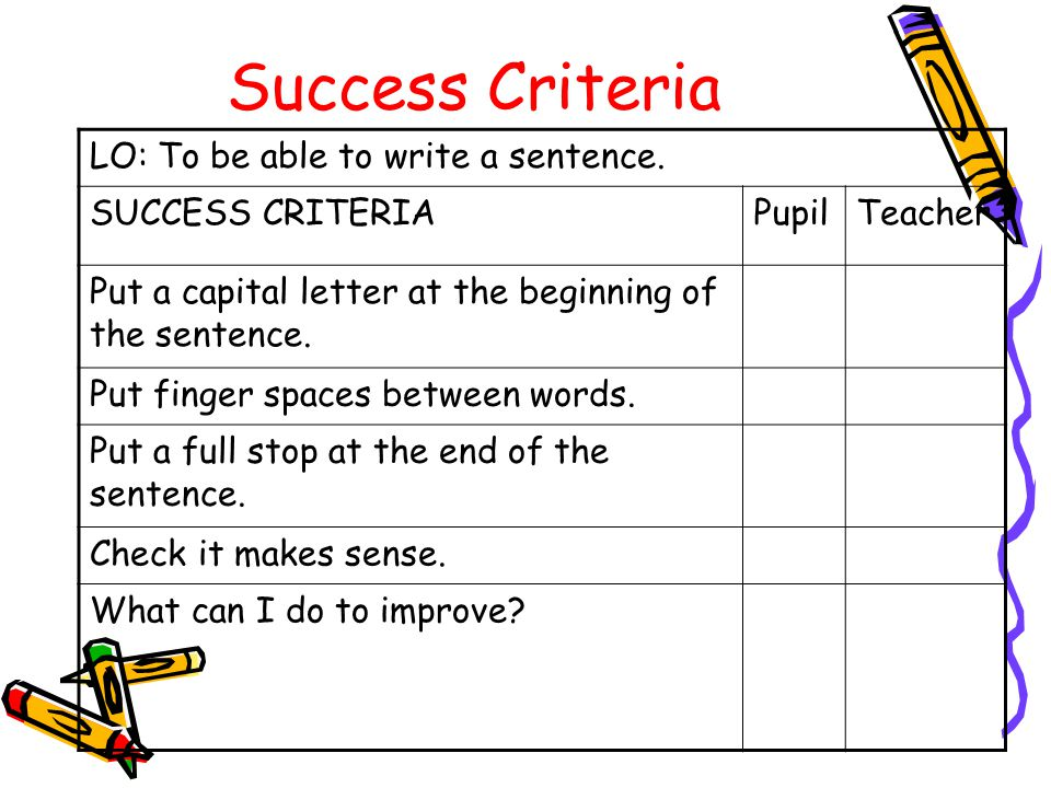 Success Criteria LO: To be able to write a sentence.