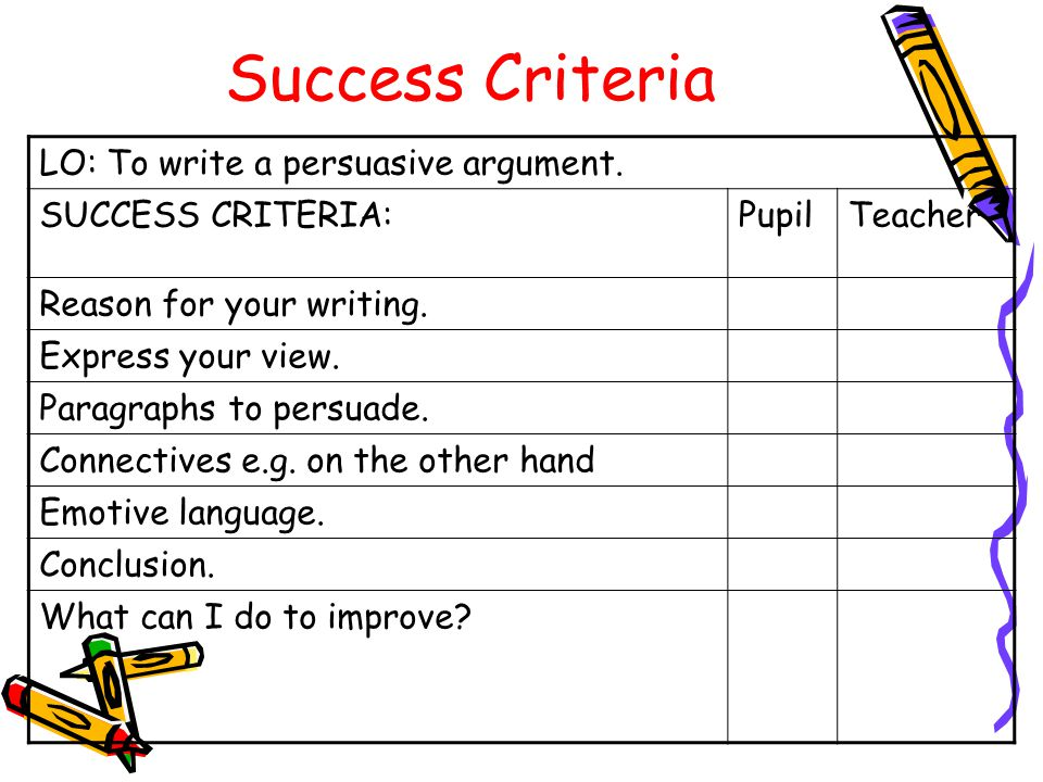 Success Criteria LO: To write a persuasive argument.