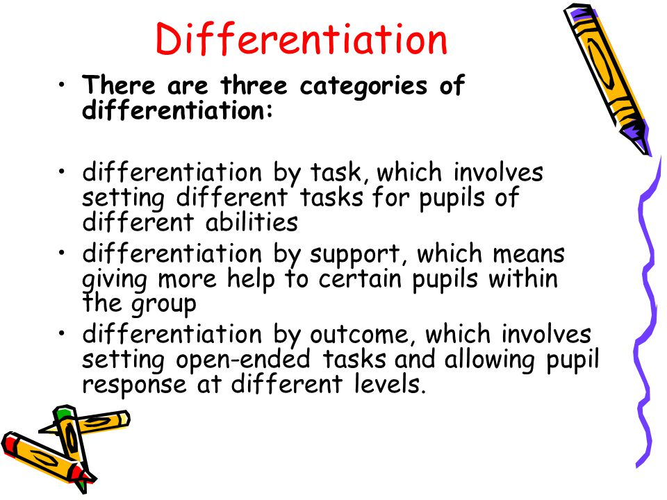 Differentiation There are three categories of differentiation: differentiation by task, which involves setting different tasks for pupils of different abilities differentiation by support, which means giving more help to certain pupils within the group differentiation by outcome, which involves setting open-ended tasks and allowing pupil response at different levels.