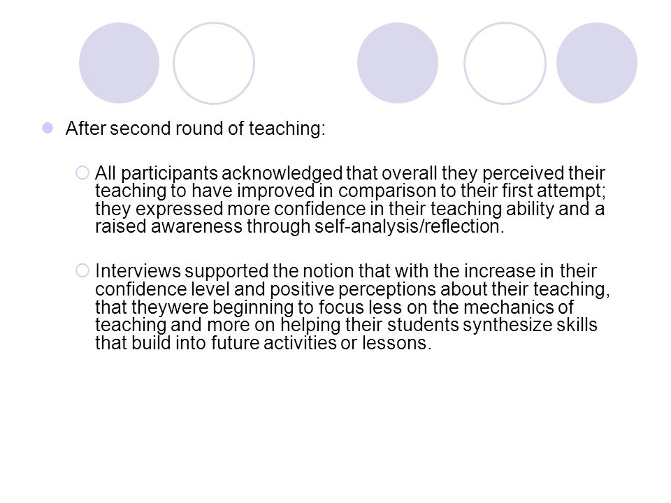 After second round of teaching: All participants acknowledged that overall they perceived their teaching to have improved in comparison to their first attempt; they expressed more confidence in their teaching ability and a raised awareness through self-analysis/reflection.