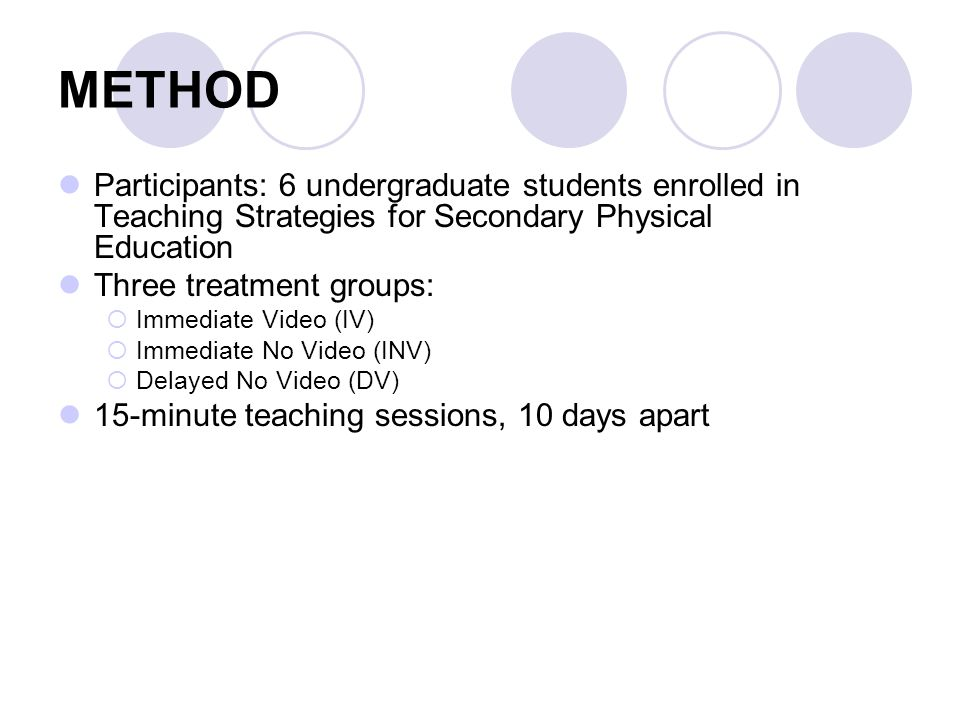 METHOD Participants: 6 undergraduate students enrolled in Teaching Strategies for Secondary Physical Education Three treatment groups: Immediate Video (IV) Immediate No Video (INV) Delayed No Video (DV) 15-minute teaching sessions, 10 days apart