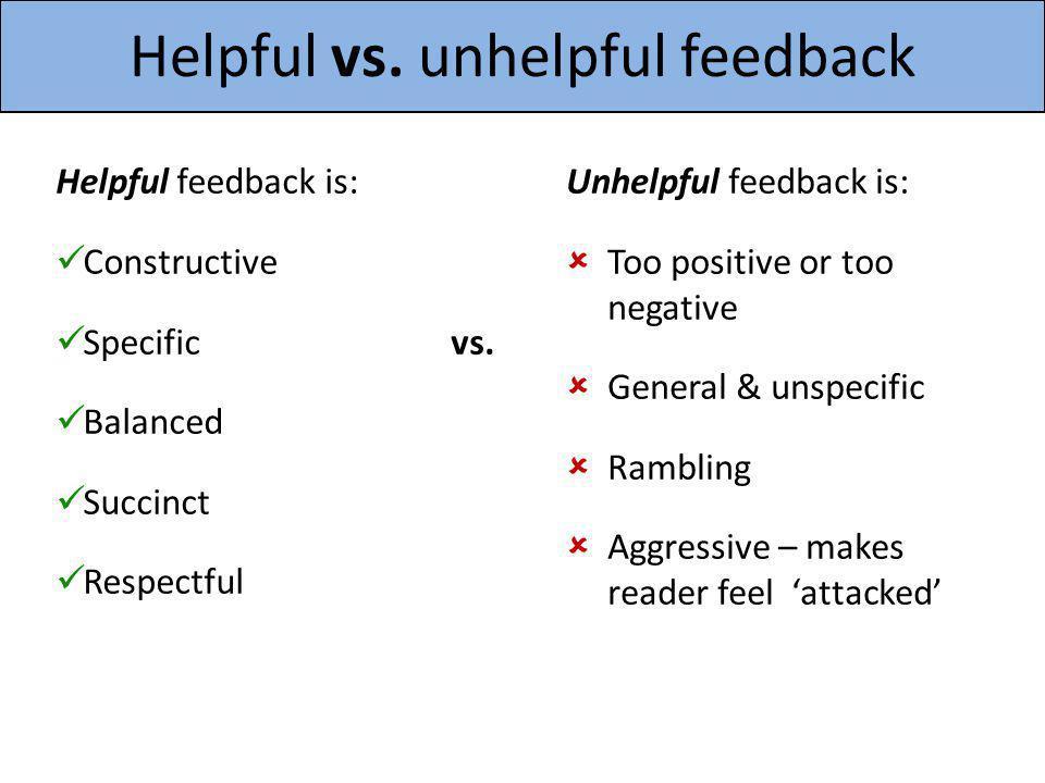 Helpful vs. unhelpful feedback Helpful feedback is: Constructive Specific Balanced Succinct Respectful vs. Unhelpful feedback is: Too positive or too
