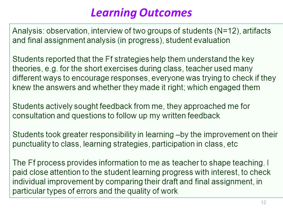 12 Learning Outcomes Analysis: observation, interview of two groups of students (N=12), artifacts and final assignment analysis (in progress), student