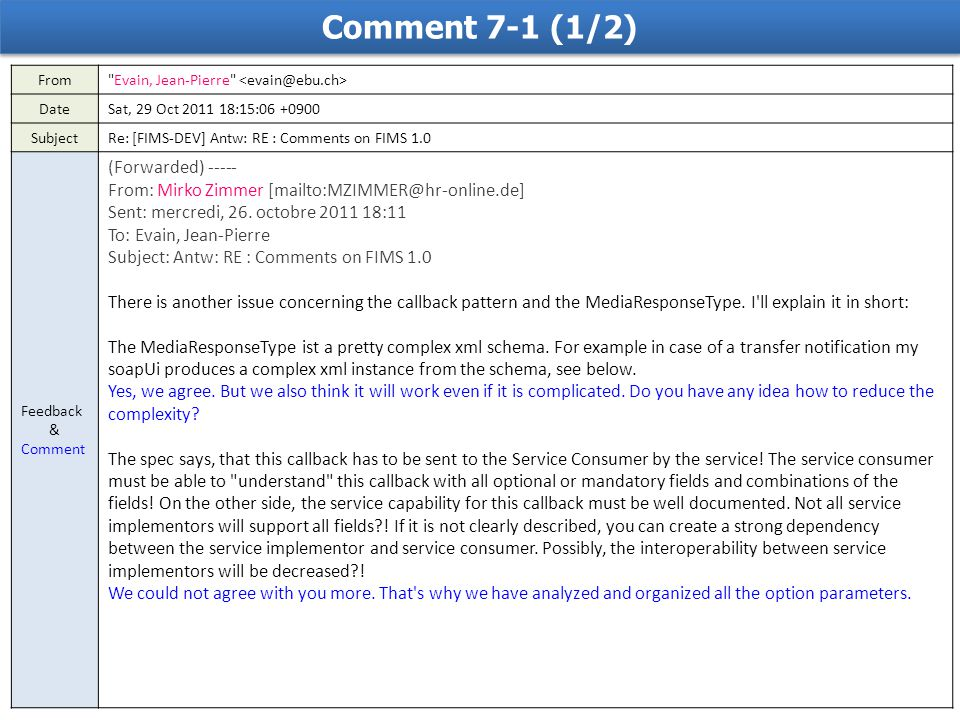 Comment 7-1 (1/2) From Evain, Jean-Pierre DateSat, 29 Oct 2011 18:15:06 +0900 SubjectRe: [FIMS-DEV] Antw: RE : Comments on FIMS 1.0 Feedback & Comment (Forwarded) ----- From: Mirko Zimmer [mailto:MZIMMER@hr-online.de] Sent: mercredi, 26.