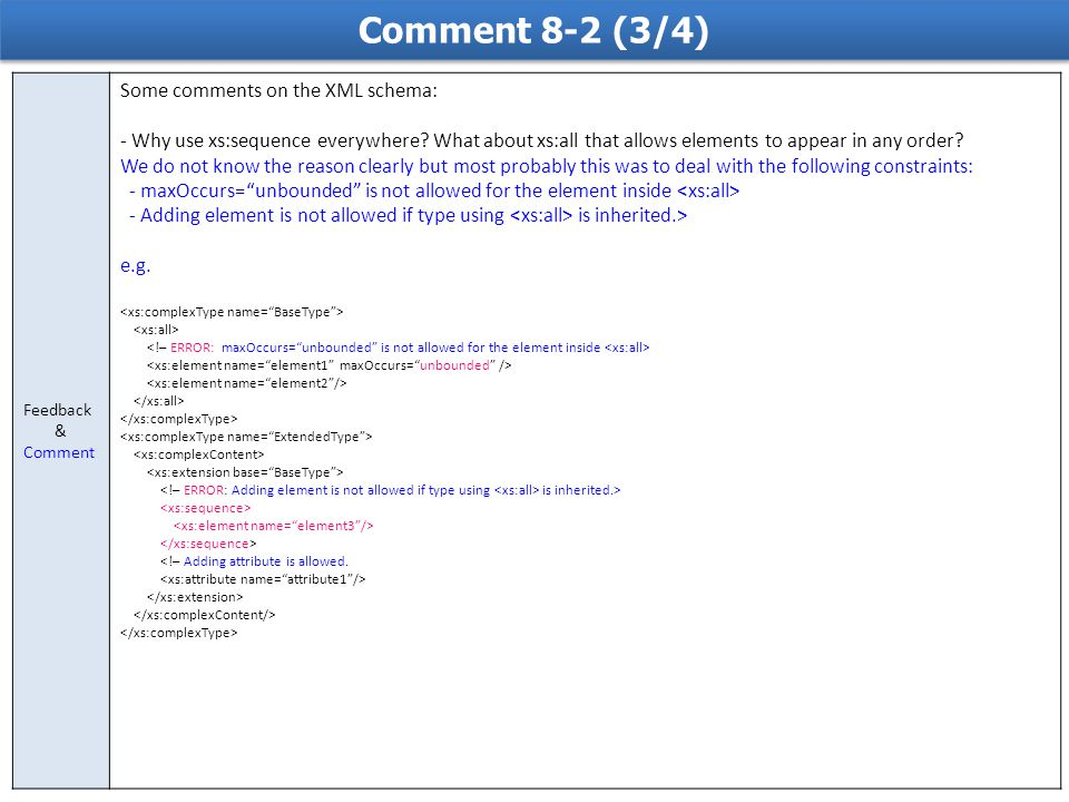 Comment 8-2 (3/4) Feedback & Comment Some comments on the XML schema: - Why use xs:sequence everywhere? What about xs:all that allows elements to appe